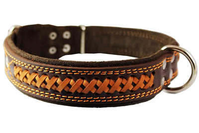 Genuine Leather Braided Dog Collar, Brown 1.5