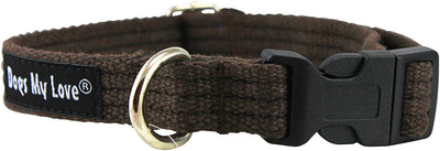 Cotton Web Adjustable Dog Collar 4 Sizes Brown