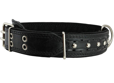 Genuine Leather Braided Studded Dog Collar, Black 1.75
