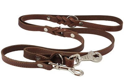 6 Way Multifunctional Leather Dog Leash Braided, Adjustable Lead Brown 42