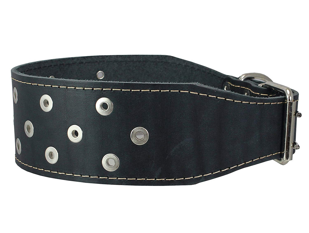 "3"" Extra Wide Heavy Duty Genuine Leather Studded Black Leather Collar 20""-24.5"" Neck Large Breeds"