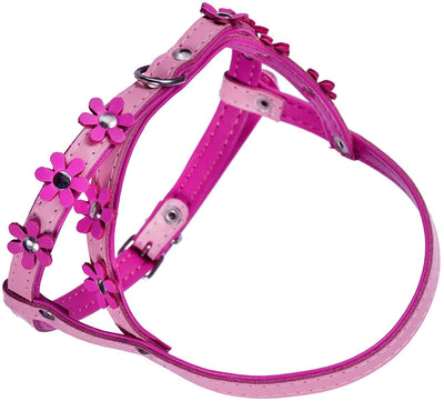 Genuine Leather Dog Harness Daisies for Toy and Small Breeds Padded Pink
