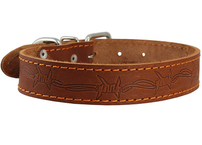 Genuine Leather Dog Collar Barb Wire Pattern Brown 4 Sizes