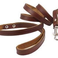 Dogs My Love Genuine Leather Classic Dog Leash 4 Ft Long 9 Sizes Brown