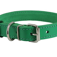 Genuine Leather Dog Collar Green 4 Sizes
