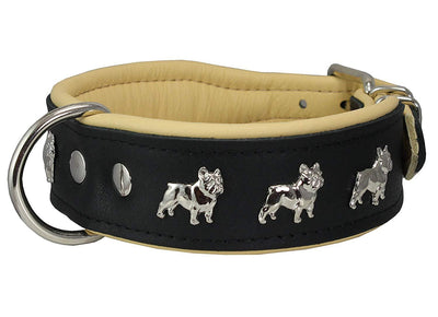 Real Leather Soft Leather Padded Dog Collar Bulldog Black/Beige