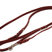"6' Genuine Leather Braided Dog Leash Red 3/8"" Wide for Small Breeds"