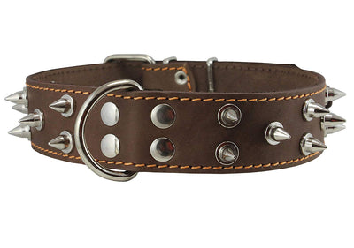 Real Leather Brown Spiked Dog Collar, 1.6