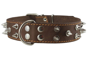 "Real Leather Brown Spiked Dog Collar, 1.6"" Wide. Fits 19""-23"" Neck Large Mastiff, American Bulldog"