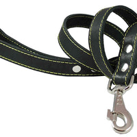 "4' Classic Genuine Leather Dog Leash 1"" Wide for Largest Breeds Black"