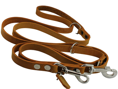 Orange 6 Way Multifunctional Leather Dog Leash, Adjustable Lead 49