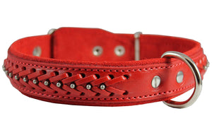 "Genuine Leather Braided Studded Dog Collar, Red 1.25"" Wide. Fits 16""-20.5"" Neck."
