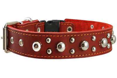 Red Genuine Leather Studded Dog Collar, Soft Suede Padded1.5 Wide. Fits 17