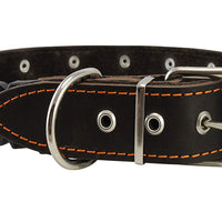 "Brown Genuine Leather Studded Dog Collar, Soft Suede Padded1.5"" Wide. Fits 17""-20"" Neck"