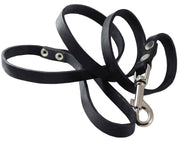 "4' Genuine Leather Classic Dog Leash Black 5/8"" Wide for Medium and Large Dogs"