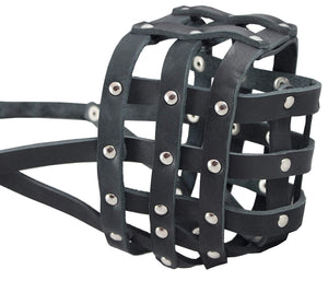 "Real Leather Dog Basket Muzzle #113 Black (Circumference 16"", Snout Length 4"") Mastiff, Newfoundland"