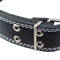 "Genuine 1.75"" Wide Thick Leather Studded Dog Collar. Fits 21.5""-26"" Neck, XLarge Breeds Great Dane"