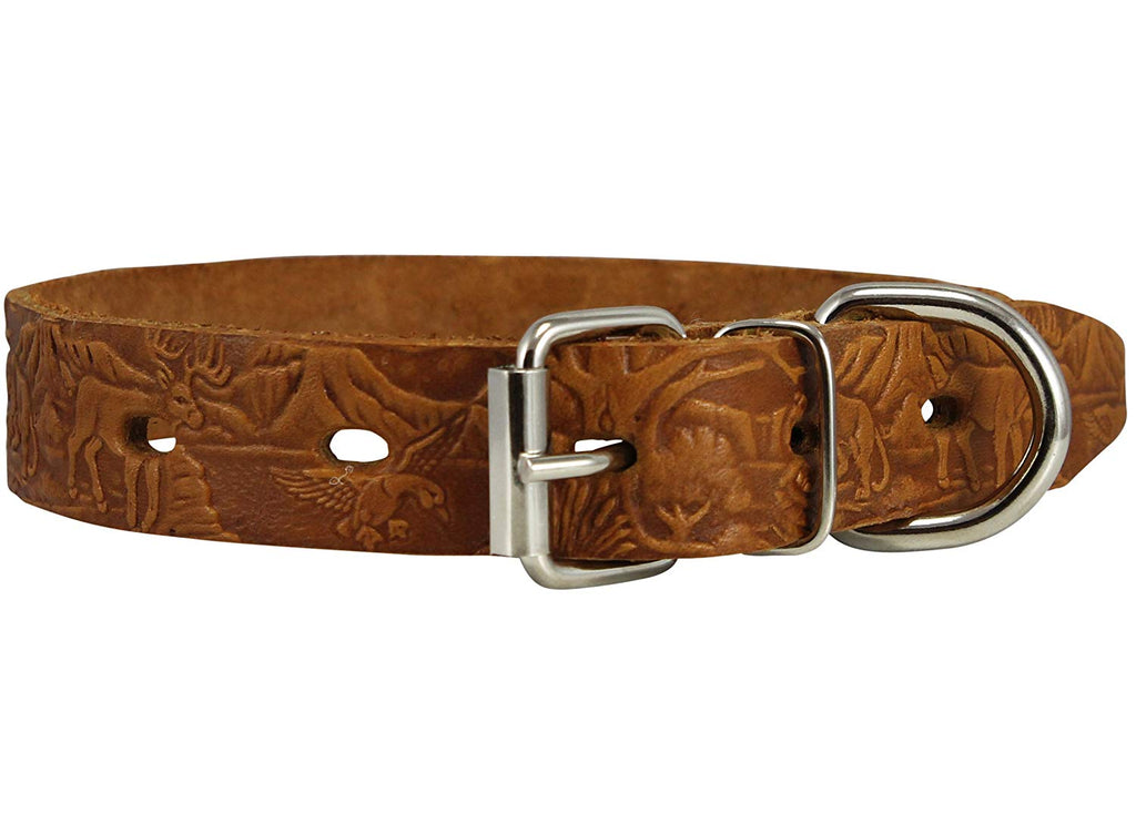 Genuine Tooled Leather Dog Collar Hunting Pattern Tan 3 Sizes