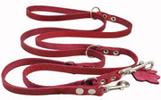 "Red 6 Way Multifunctional Leather Dog Leash, Adjustable Lead 49""-94"" Long 3/8"" Wide (10 mm) Small"