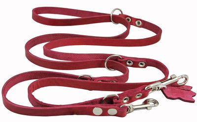 Red 6 Way Multifunctional Leather Dog Leash, Adjustable Lead 49