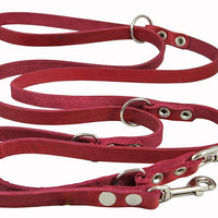 "Multifunctional Leather Dog Leash, Adjustable 6 Way Lead 49""-94"" Long 1/2"" Wide (12 mm) Small/Medium"