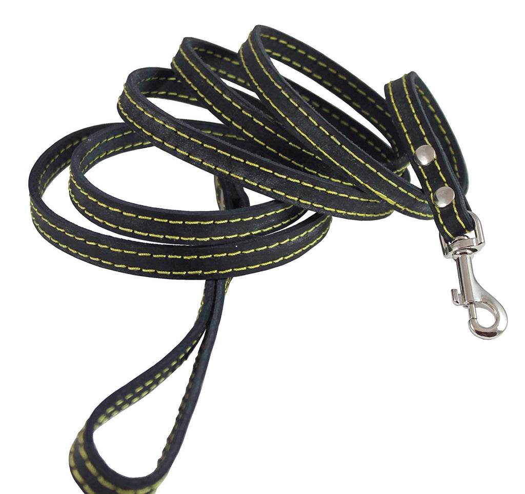 "Genuine Leather Dog Leash 1/2"" Wide 6 Ft, Small Breeds"