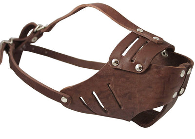 Real Leather Cage Basket Secure Dog Muzzle #117 Brown (Circumference 10.75