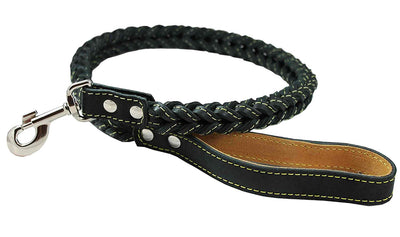 4-thong Square Fully Braided Genuine Leather Dog Leash, 3.5 ft Length 1