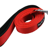 Dogs My Love 6ft Long Neoprene Padded Handle Nylon Leash 4 Sizes Red