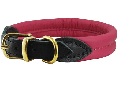 Pink Soft Genuine Rolled Leather Dog Collar Brass Hardware