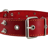 "Dogs My Love Real Leather Red Spiked Dog Collar Spikes, 1.6"" Wide. Fits 19""-23"" Neck, Large Breeds"