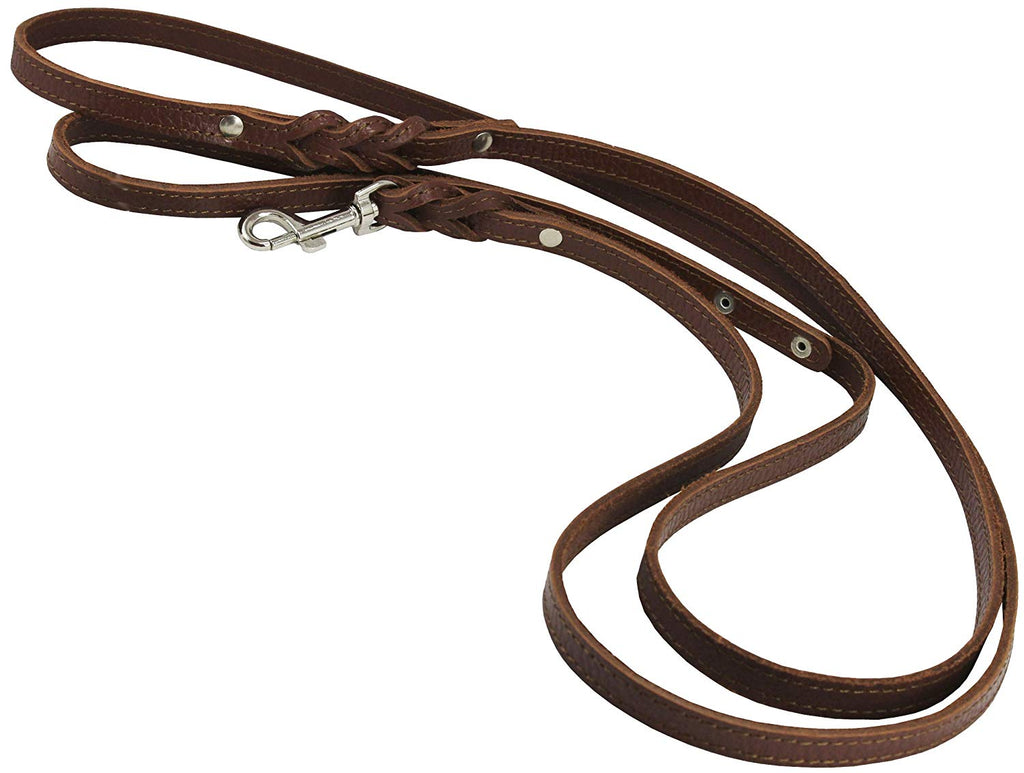 "6' Genuine Leather Braided Dog Leash Brown 3/8"" Wide for Small Breeds"