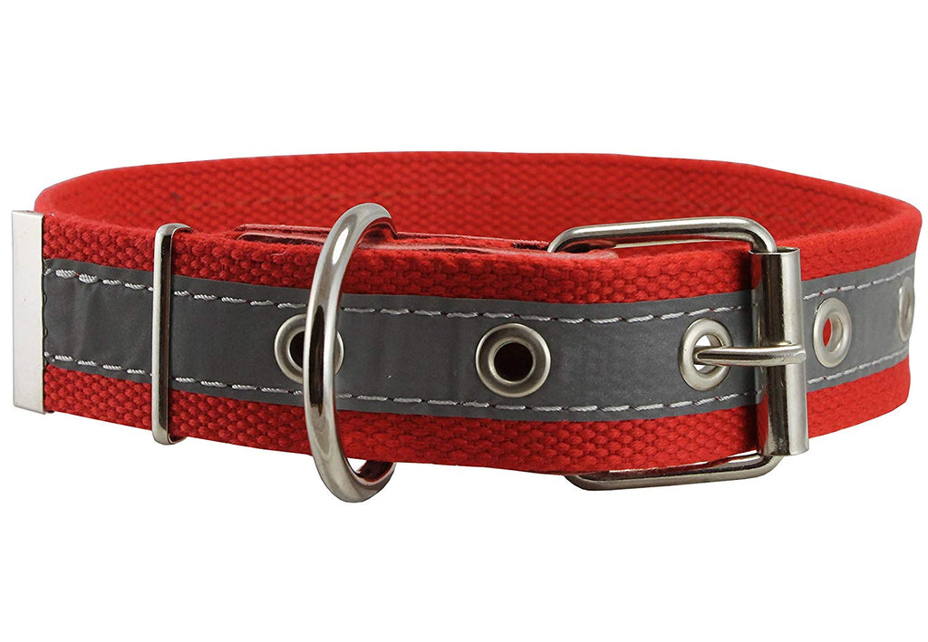 "Cotton Web/Leather Reflective Dog Collar 20"" Long 1"" Wide Fits 14""-18"" Neck, Boxer, Retriever"
