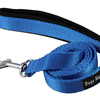 Dogs My Love 4ft Long Neoprene Padded Handle Nylon Leash 4 Sizes Blue