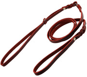 "Slip Leash in Red Genuine Leather Lead and Collar system 54"" Long 3/8"" Wide Medium"