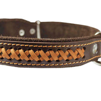 "Genuine Leather Braided Dog Collar, Brown 1.25"" Wide. Fits 16""-20.5"" Neck."