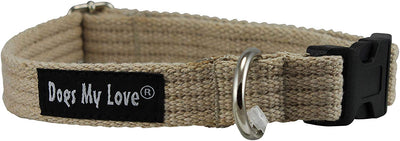 Cotton Web Adjustable Dog Collar 4 Sizes Beige