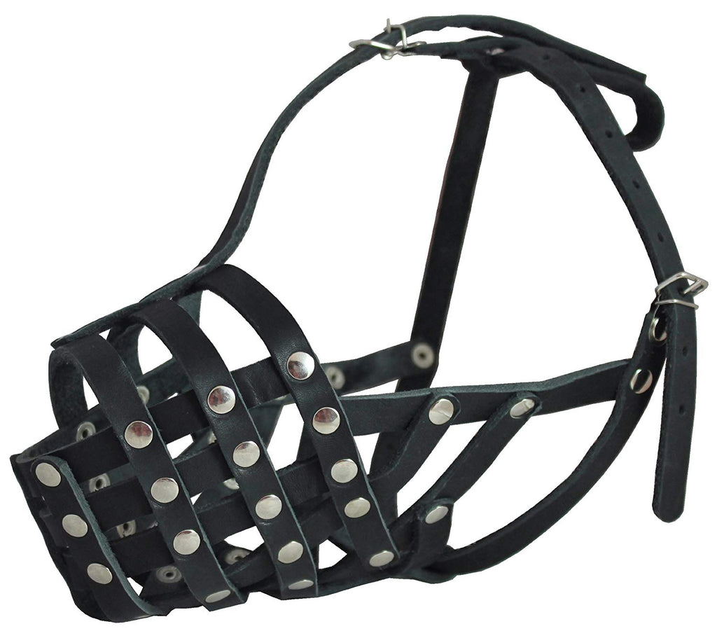 "Secure Genuine Leather Mesh Dog Basket Muzzle - Pit Bull, (Circumference 12.5"", Snout Length 3.5"")"