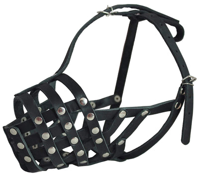 Secure Genuine Leather Mesh Dog Basket Muzzle - Pit Bull, (Circumference 12.5