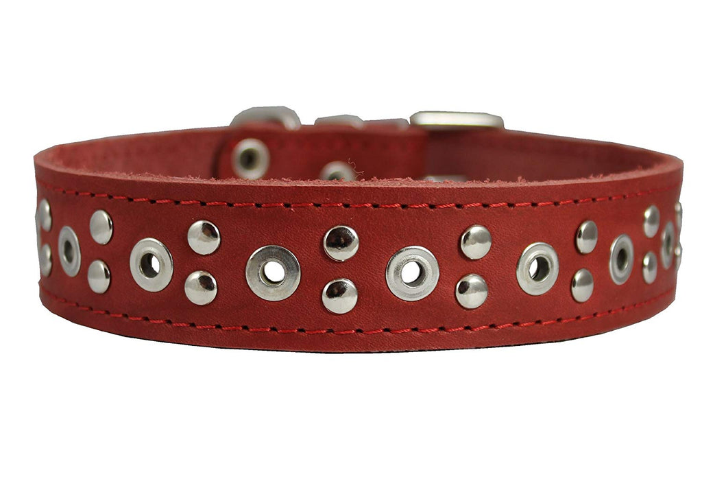 "Genuine Leather Studded Dog Collar 25""x1.5"" Red Fits 18""-21"" Neck Large"