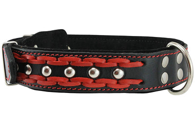 Genuine Leather Braided Studded Dog Collar, Red on Black 1.6