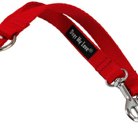 "10"" Long Nylon 2-way Double Dog Leash - Two Dog Coupler Red 4 Sizes"