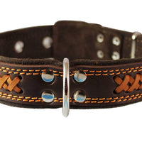 "Genuine Leather Braided Dog Collar, Brown 1.5"" Wide. Fits 17""-22"" Neck."