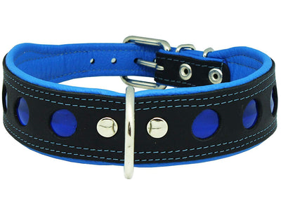 Real Leather Soft Leather Padded Dog Collar Reflective Black/Blue