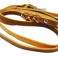 "8' Genuine Leather Braided Dog Leash Brown 3/4"" Wide"