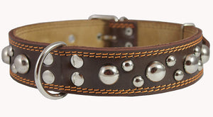 "Genuine 1.6"" Wide Thick Leather Studs Dog Collar Brown. Fits 19""-24"" Neck, Rottweiler, Pit Bull."