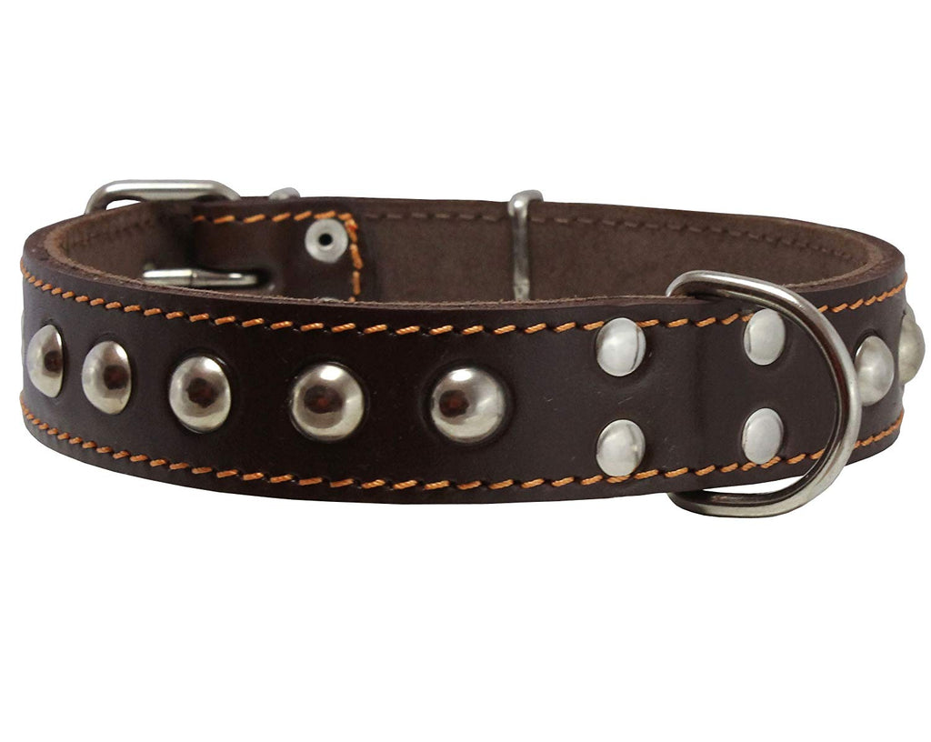 "Genuine 1"" Wide Thick Leather Studded Dog Collar. Fits 14""-17"" Neck, Medium Breeds."