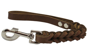 "Dogs My Love Brown Leather Braided Dog Short Traffic Leash 12"" Long 4-thong Square Braid."
