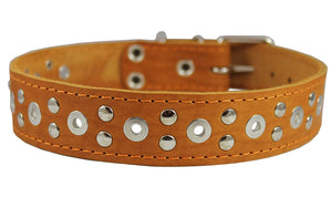 "Genuine Leather Studded Dog Collar 25""x1.5"" Tan Fits 18""-21"" Neck Large"