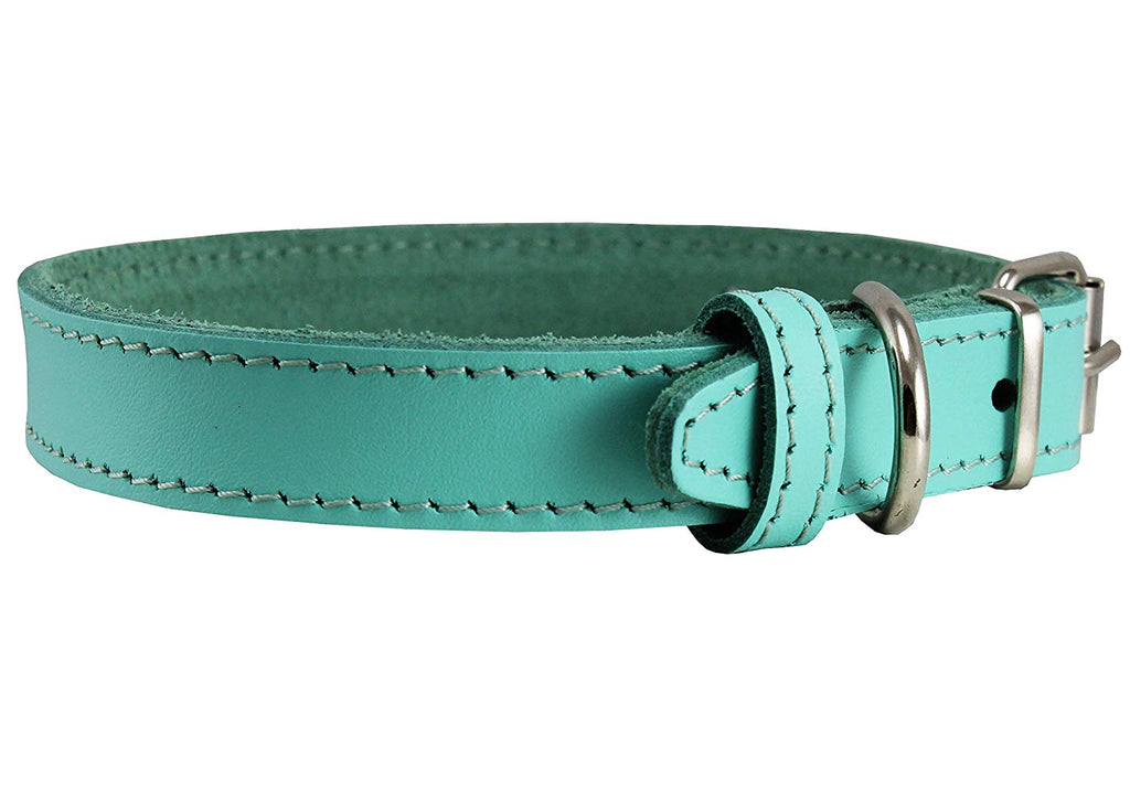 Genuine Leather Dog Collar Cyan 4 Sizes